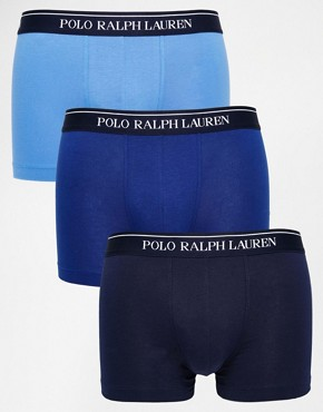 Image 1 ofPolo Ralph Lauren Stretch Cotton 3 Pack Trunks