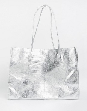 ASOS Unlined Leather Shopper Bag With Skinny Straps