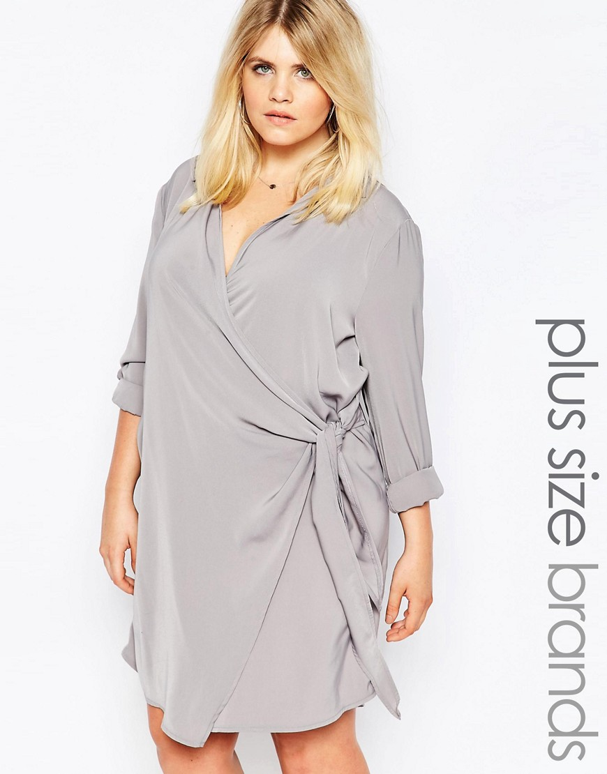 Missguided Plus Wrap Shirt Dress - Gray