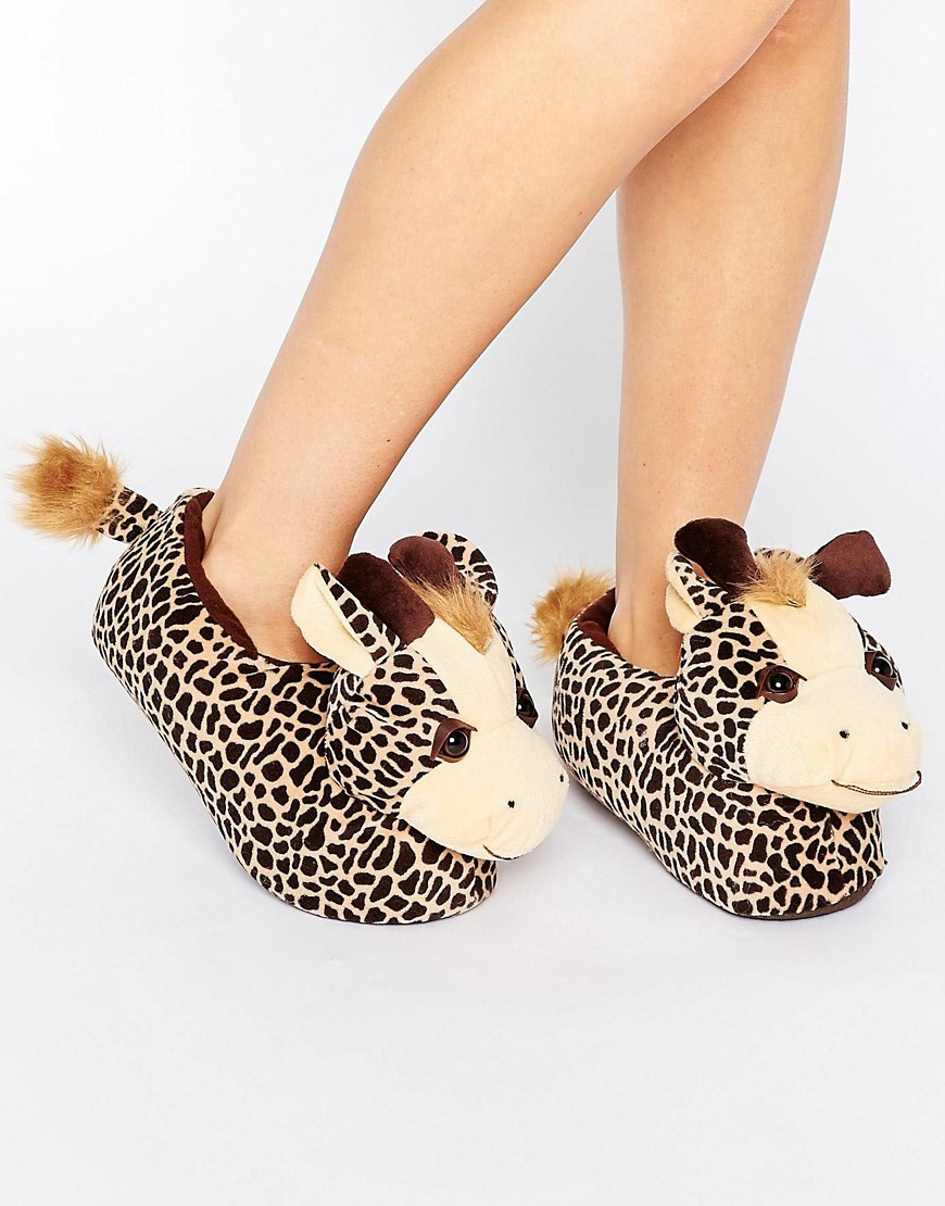 loungeable-gina-giraffe-slipper-orange