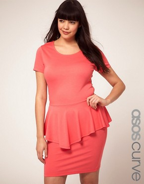 Image 1 ofASOS CURVE Exclusive Dress With Peplum