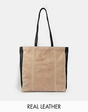 ASOS Leather and Suede Colourblock Shopper Bag