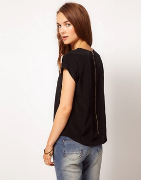 Image 2 ofRiver Island Zip Back T-Shirt