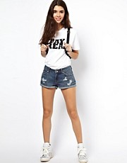 ASOS Denim Shorts with Rips in Indigo