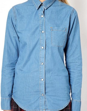 Image 3 of ASOS Denim Shirt in Mid Stonewash Blue