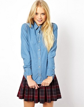 Image 1 ofASOS Denim Shirt in Mid Stonewash Blue