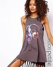 ASOS PETITE Oversized Vest with Multicoloured Skulls