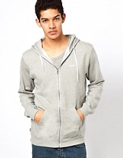 Vans Zip Thru Hoodie Basic Marl Logo Front Pocket