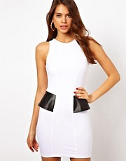 Motel Alex Bodycon Dress with PU Trim