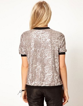 Image 2 ofASOS Top in Metallic Rose Print