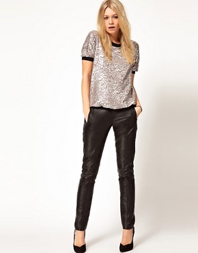 Image 4 ofASOS Top in Metallic Rose Print