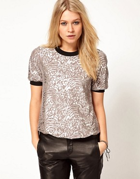Image 1 ofASOS Top in Metallic Rose Print