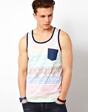 Solid Vest With Pocket And Print