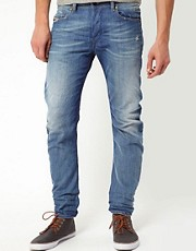 Diesel - Rombee XT 0807K - Jeans regular fit stretti in fondo con lavaggio chiaro