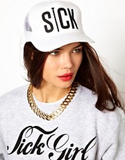 Sick Girl White Snapback Cap