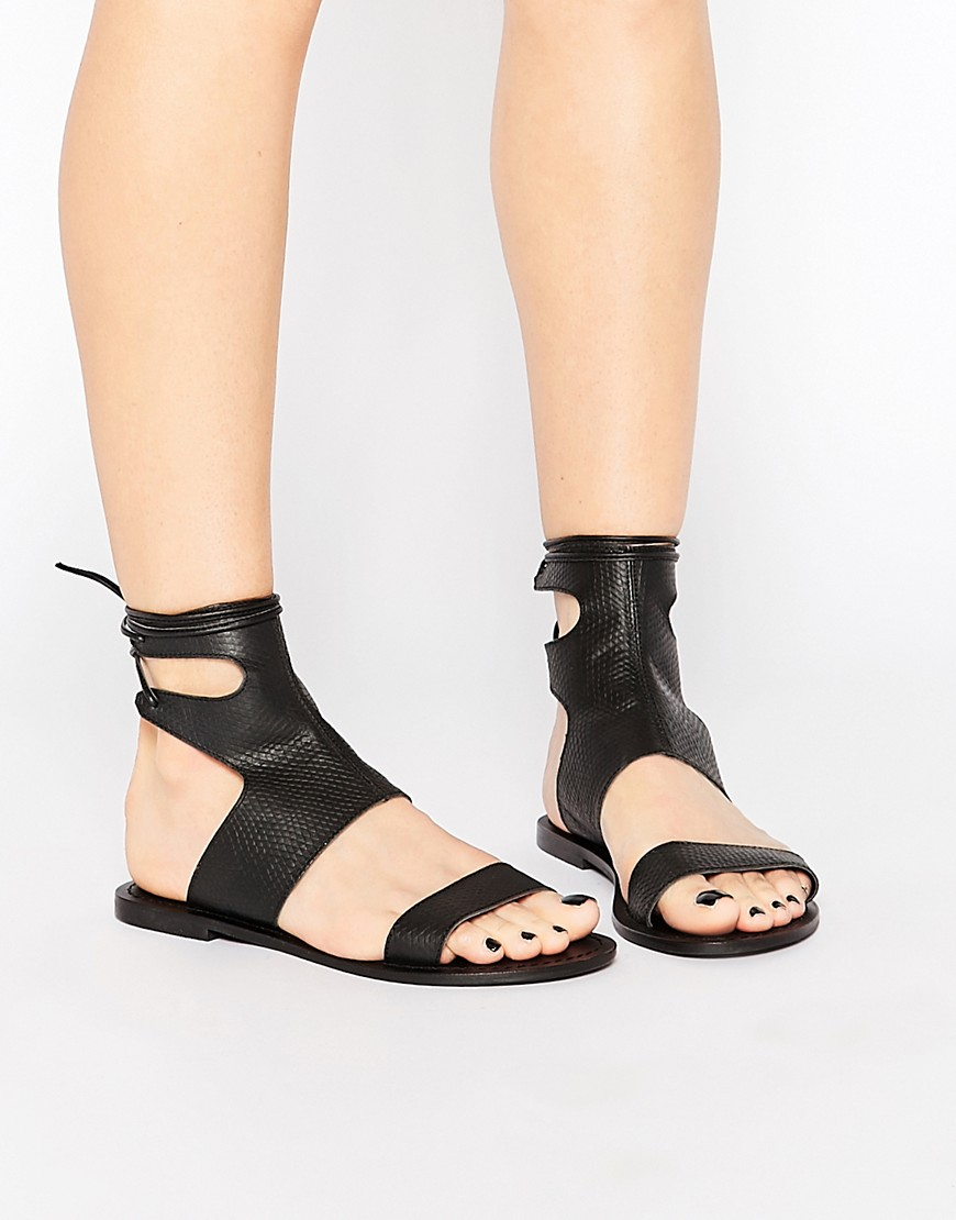 ASOS FOUNTAIN Leather Lace Up Sandals - Black