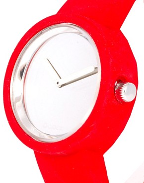 Image 4 ofO&#39;Clock Analogue Mirror Silicone Red Watch