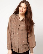 French Connection Chain Reaction Silk Collarless Shirt