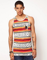 B Side By Wale Vivid Vest Aztec Print Chest Pocket