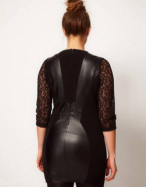 Image 2 ofASOS CURVE Exclusive Dress with Lace &amp; Leather Look Panels