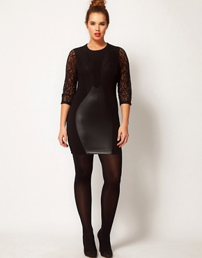 Image 4 ofASOS CURVE Exclusive Dress with Lace &amp; Leather Look Panels