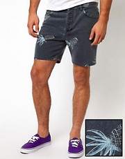 ASOS Denim Shorts With Pineapple Print