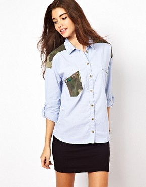 Image 1 ofOnly Shirt With Camo Pocket
