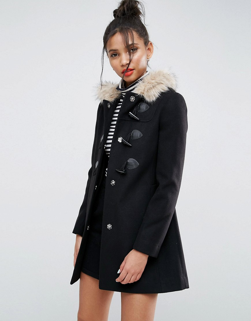 ASOS Duffle Coat with Faux Fur Hood - Black