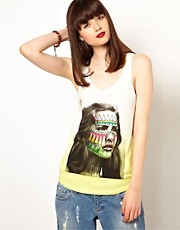 Eleven Paris Aztec Face Print Tank with Dip Dye