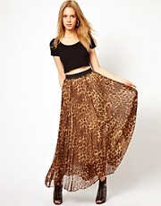 Rare Leopard Print Pleat Maxi Skirt