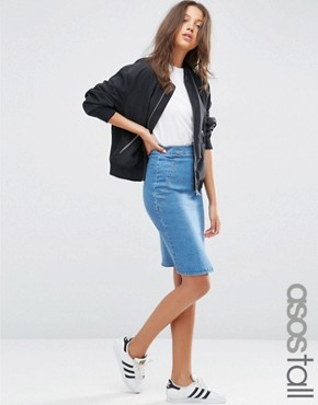 ASOS TALL Denim Pencil Skirt in Mid Wash Blue
