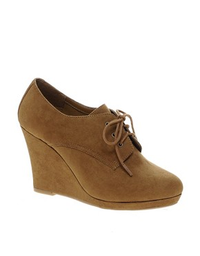 Image 1 ofNew Look Weapon Wedge Tan Shoe Boots
