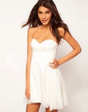 Image 1 ofASOS Strapless Skater Dress with Sweetheart neckline