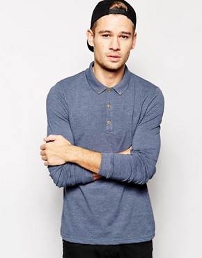 Image 1 ofASOS Pique Polo With Long Sleeves