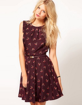 Image 1 ofOasis Fox Print Skater Dress