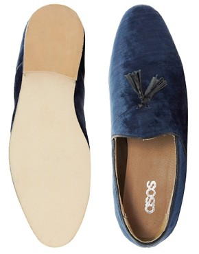 Image 3 ofASOS Velvet Tassel Loafers With Leather Sole