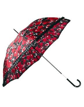 Image 1 ofLulu Guinness Rose Print Eliza-2 Umbrella