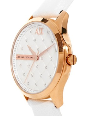 Image 4 ofArmani Exchange White Logo Watch