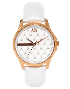 Image 1 ofArmani Exchange White Logo Watch