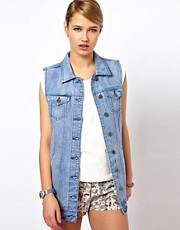 Selected Jannet Long Line Sleeveless Denim Jacket