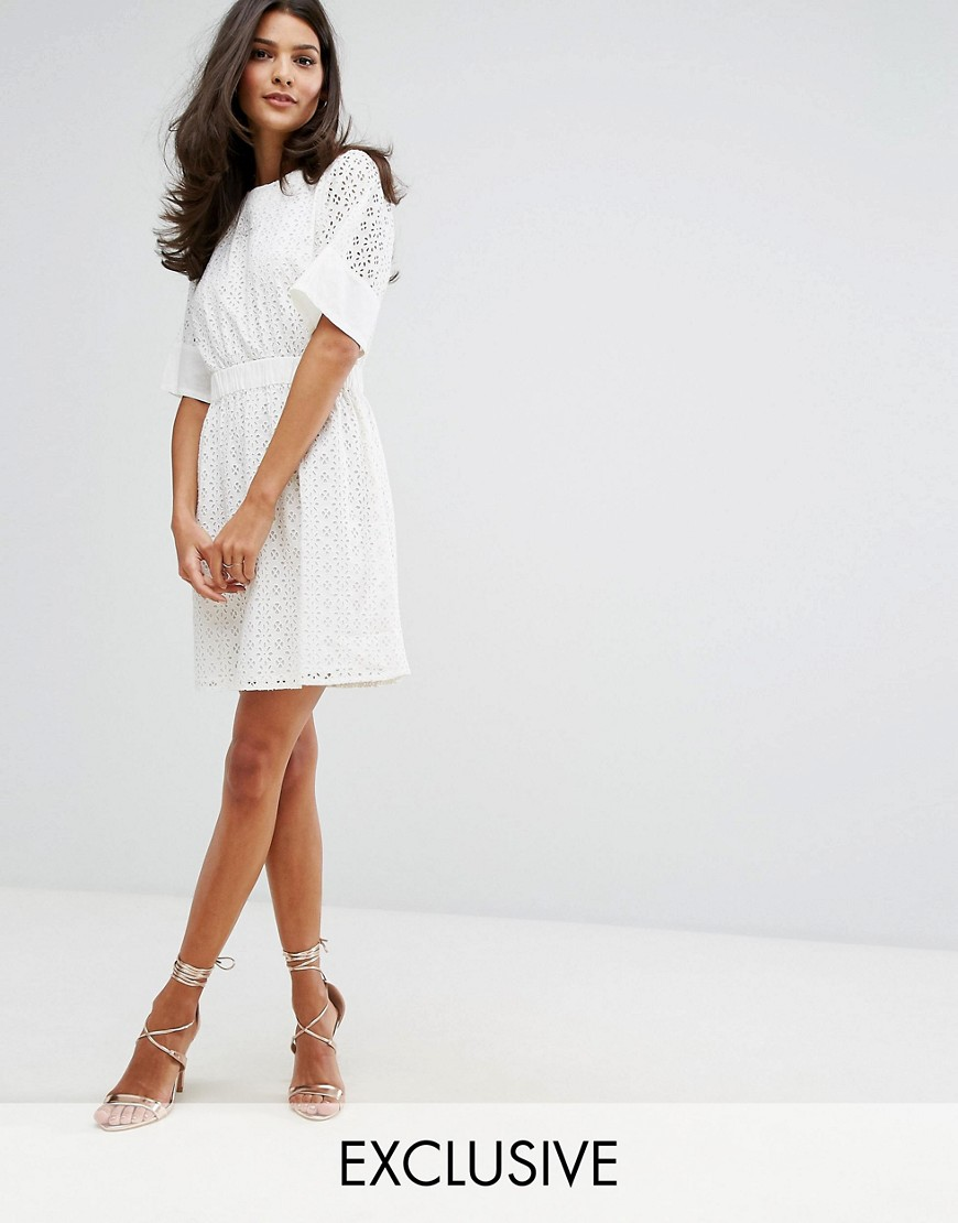 Warehouse Broderie T-Shirt Dress