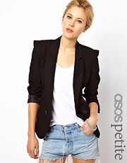 ASOS PETITE Tailored Blazer With Power Shoulders