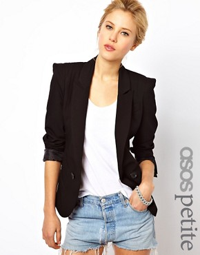 Image 1 ofASOS PETITE Tailored Blazer With Power Shoulders