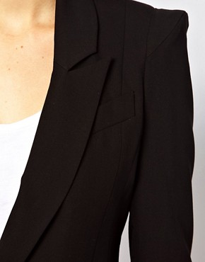 Image 3 ofASOS PETITE Tailored Blazer With Power Shoulders
