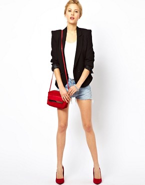 Image 4 ofASOS PETITE Tailored Blazer With Power Shoulders