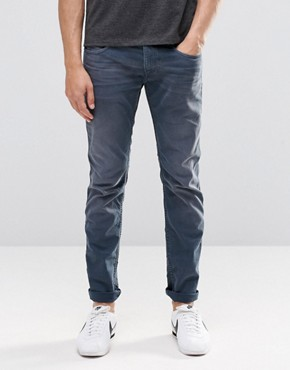 Replay Jeans Anbass Slim Fit Stretch Mid Blue Overdye Wash