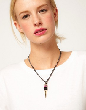 Image 3 ofASOS Jewel Spike Short Pendant Necklace