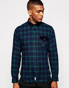 Threadbare Check With Cord Collar Shirt
