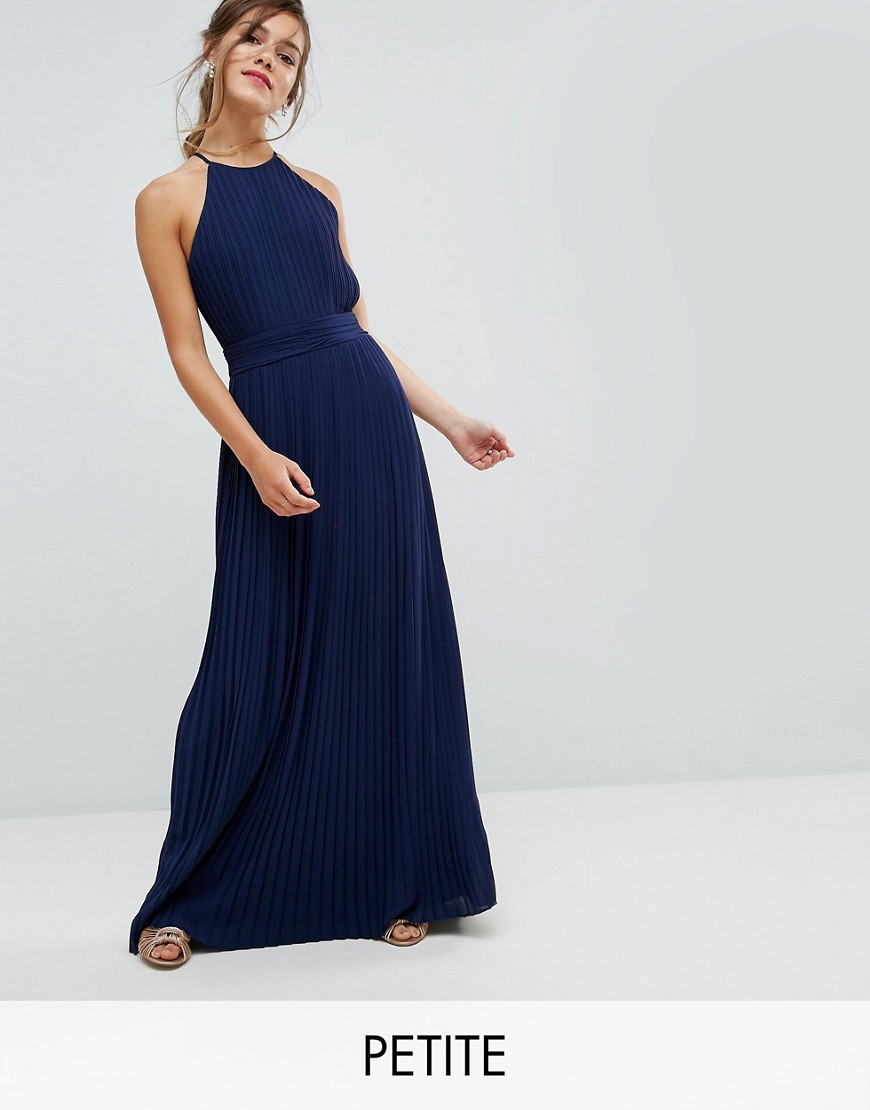 TFNC Petite WEDDING High Neck Pleated Maxi Dress - Navy