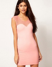 Motel Dress With Lace Mesh